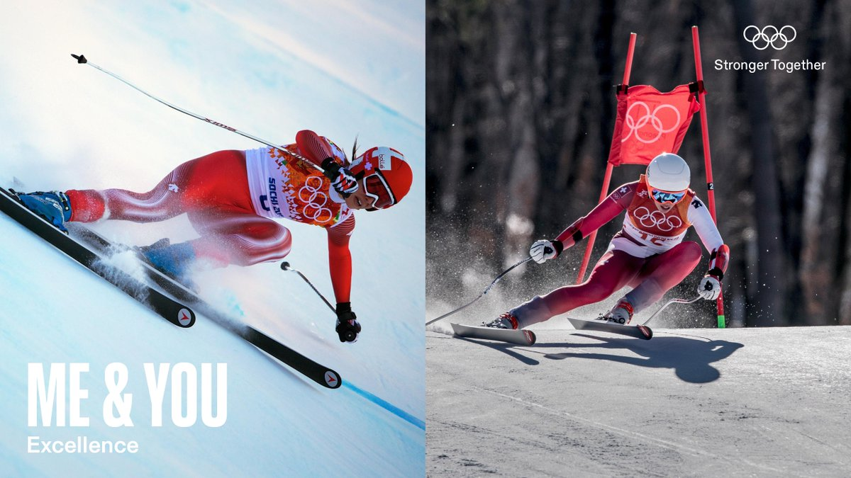 Excellence runs in the family.   Alpine skier and Olympic Champion Dominique Gisin at Sochi 2014. Four years later, her younger sister Michelle Gisin followed in her footsteps, also winning gold at PyeongChang 2018.   #StrongerTogether #Olympics #Excellence