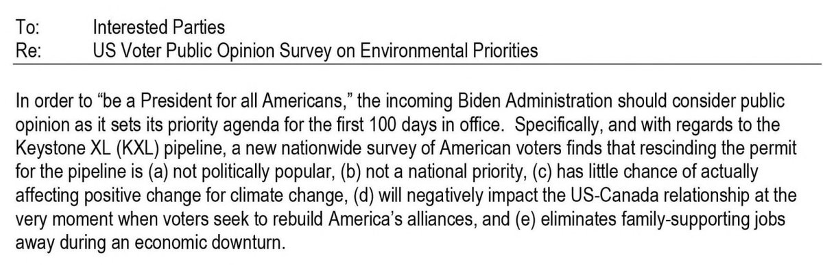 In the days before Biden took office, PR reps for the govt of Alberta circulated polling to reporters showing that canceling the Keystone pipeline was not particularly popular and not seen as having a major climate impact s3.amazonaws.com/fara2.opensecr…