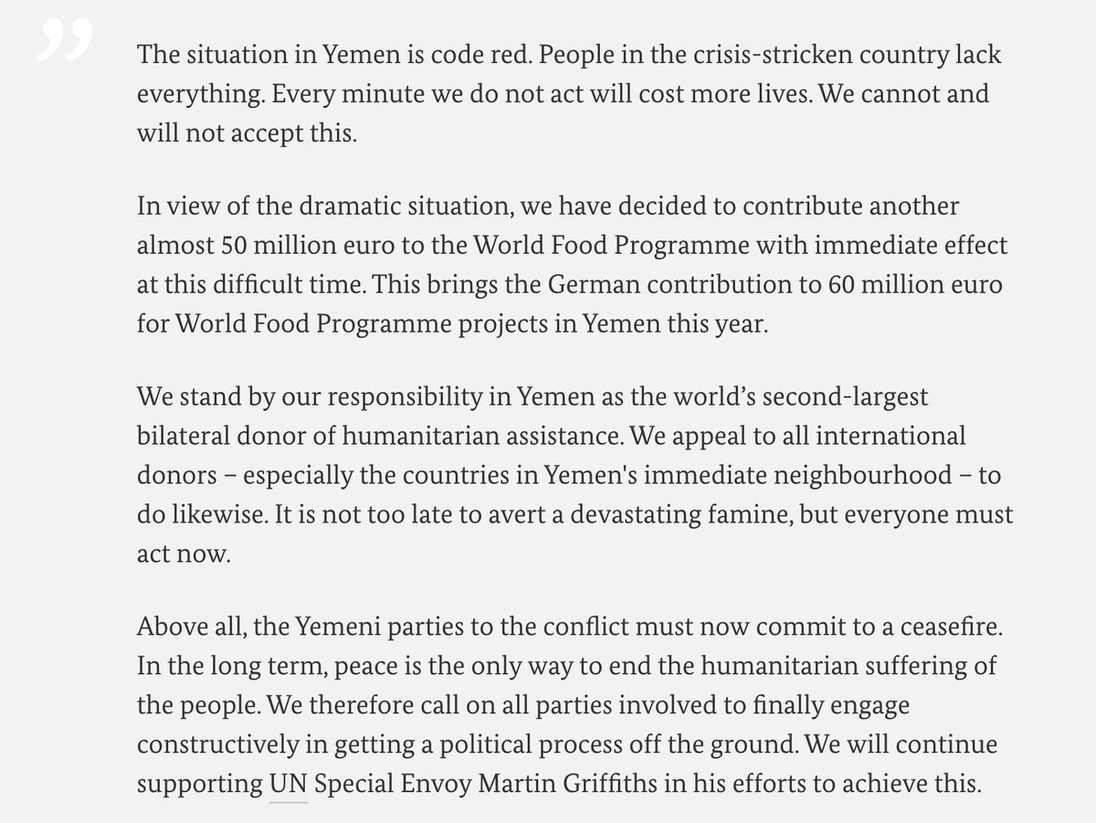 """""""Taking effect immediately, we will contribute another 50 million euro to @WFP for relief in #Yemen because every second in which we do not act will cost more lives on the ground. It is not too late yet to avert a devastating famine but everyone must act now.""""- FM @HeikoMaas 1/2 https://t.co/75q59fbQ0o"""