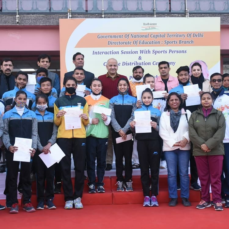 Delhi government Interaction session with sports persons and cheque distribution ceremony of play and progress scheme..in presence of Honorable Dy. CM @msisodia ji