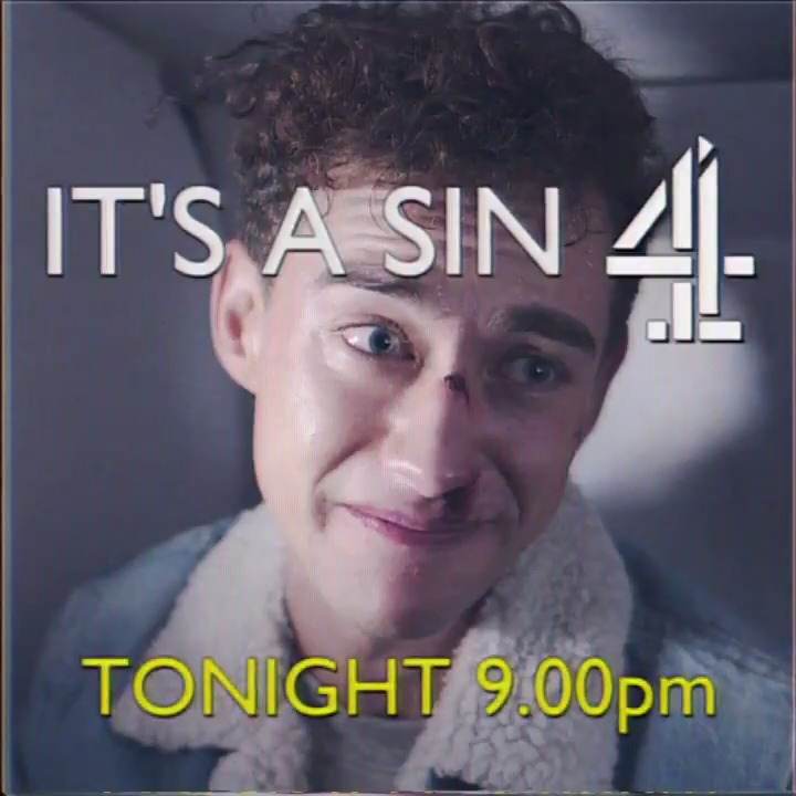 TONIGHT IS THE NIGHT ✨ it's a sin ✨ airs on @channel4 at 9pm (GMT) and the whole series is available on All 4 straight after💙 go watch it !! i am beyond proud of this show and all the amazing people that worked on it ✨ excuse me while i cry for a while 🥺😭❤️ #itsasin