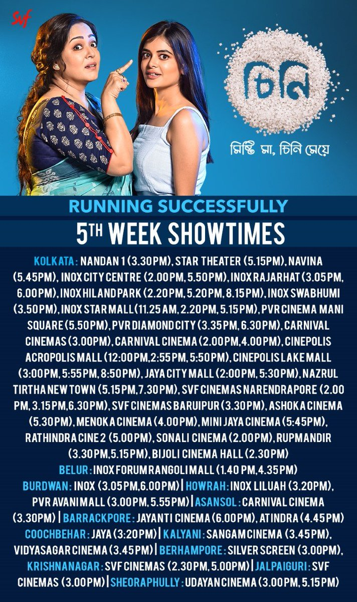 #Cheeni enters the 5th week as the biggest grossing Bengali movie post re-opening of cinema halls. #CinemasAreBack  Book your tickets now:   @madhumitact @AdhyaAparajita @iamsaaurav @talkmainak
