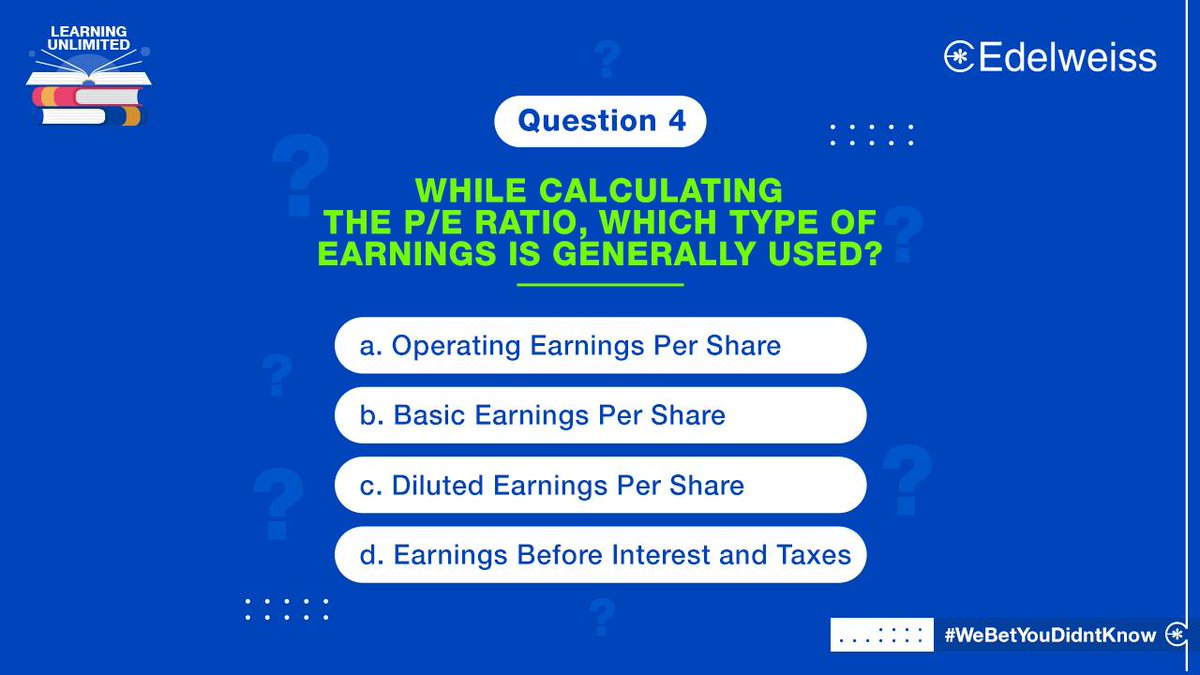 And last but not the least, here's our 4th and last question for the #LearningUnlimited contest. Let us know what the correct answer is in the comments. And don't forget to check the T&Cs at   #ContestPost #Contest #LearningUnlimited #WealthManagement