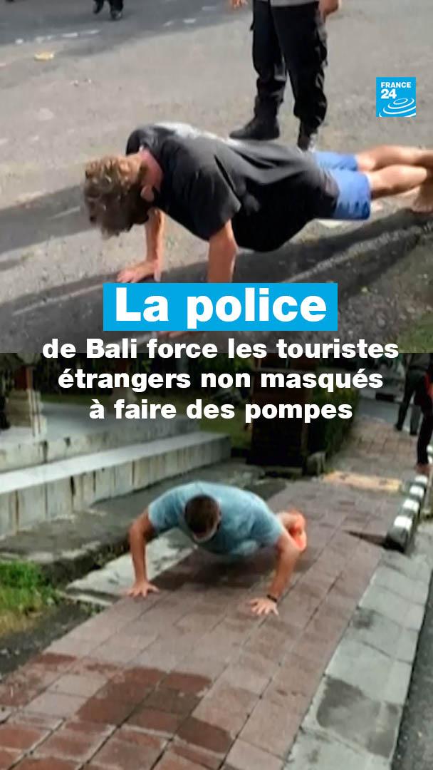 😷 À #Bali, la police force des touristes qui ne portent pas de #masque, pourtant obligatoire, à faire des pompes   #COVID19