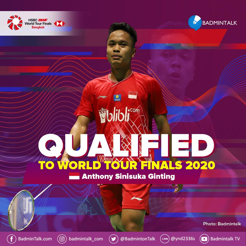 Indonesian Players QUALIFIED to BWF World Tour Finals 2020  5. ANTHONY SINISUKA GINTING (INA)  BREAKINGG! GINTING HAS MADE IT!!!  EMPAT KONDISI LOLOS TERPENUHI SEMUA!  SELAMAT UNTUK GINTING!   All the best for the tournament next week!!!  #BWFWorldTourFinals #BtalkRaceToBangkok https://t.co/gFTwnPqoNq