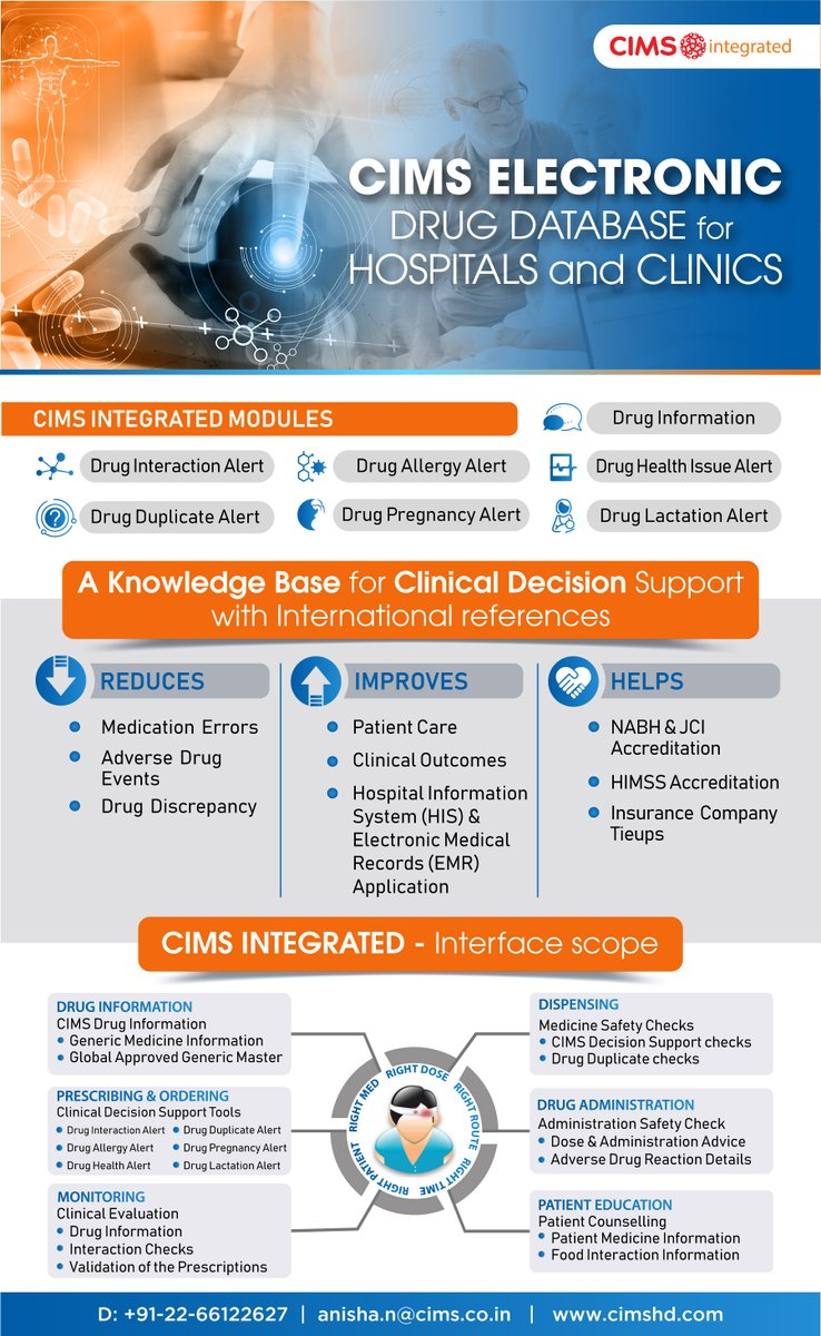 A comprehensive Clinical Decision Support platform to assist doctors at every point of care & reduce prescription errors  For more information mail us: anisha.n@cims.co.in Our Services: https://t.co/tLQnNCAnlI https://t.co/SVAmhBzj3m https://t.co/w8fUC7f9QP https://t.co/4wEkyk6nzh