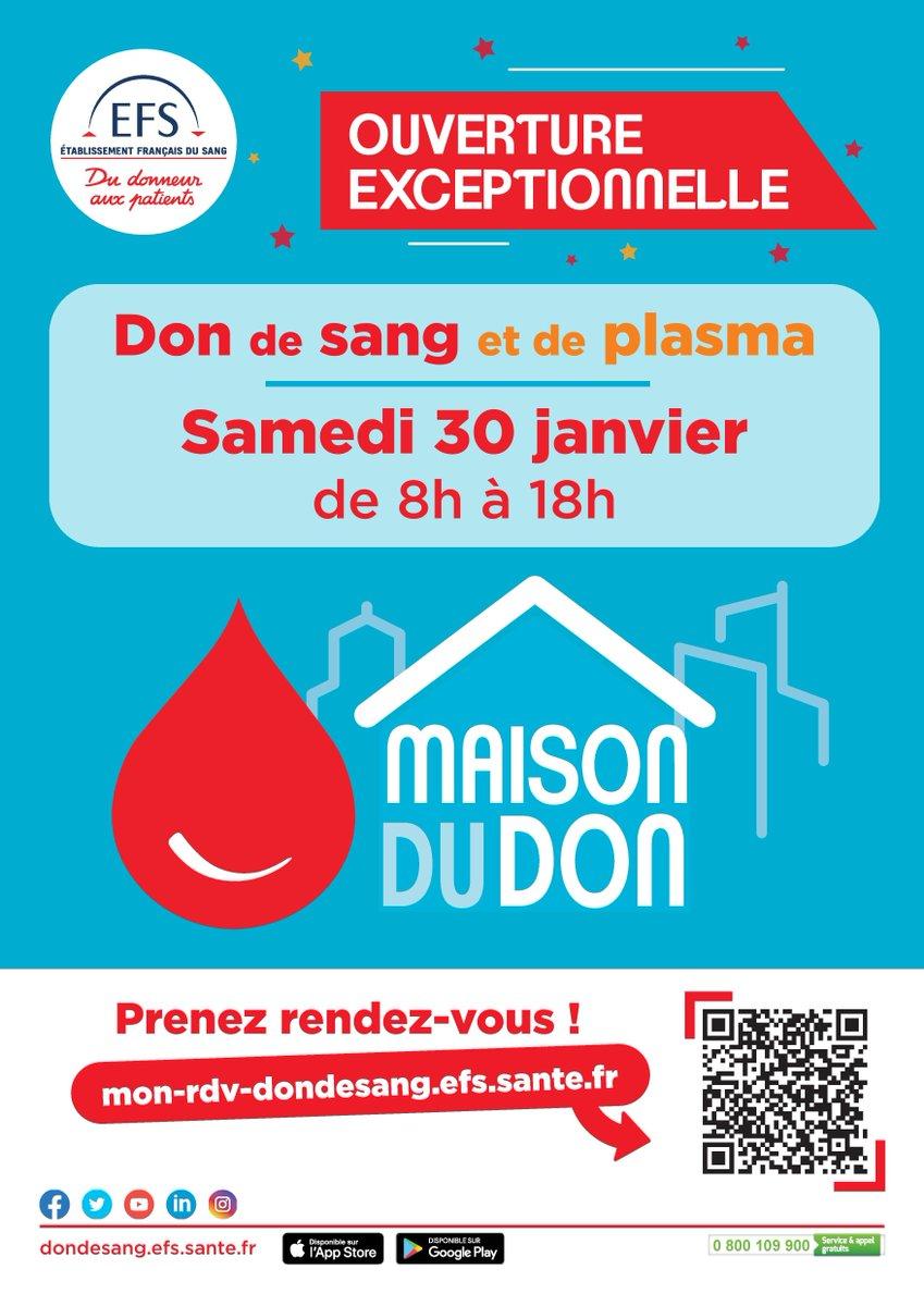 En ce début d'année, faites un don ! Journée spéciale à la Maison du Don (au @CHPC50) le Samedi 30 janvier de 8h à 18h00 👉 Don du sang sur RDV  ou plasma  #oncomptesurvous #DonDeSang @EFS_dondesang