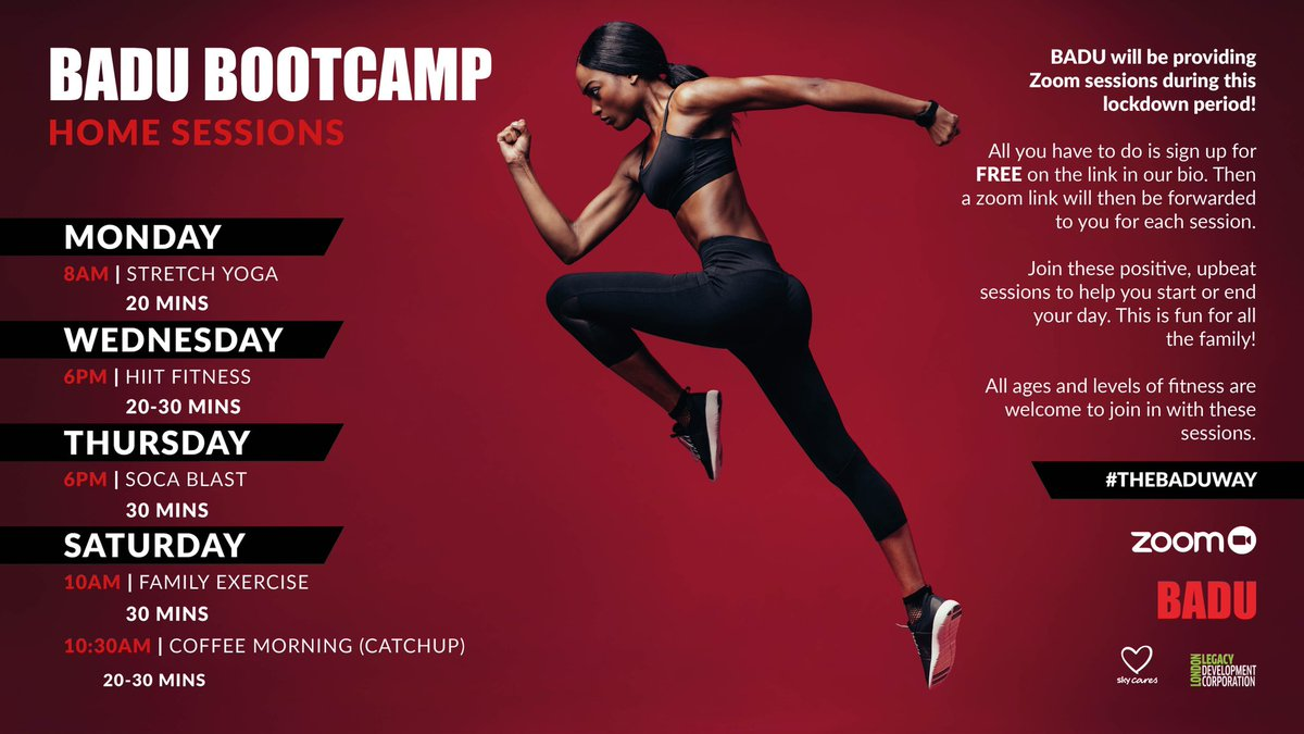 BADU @BaduSports will be providing a variety of FREE fitness sessions for all to enjoy during lockdown.  Use this link to book your spot now!    #fitness #PE #lockdownbootcamp