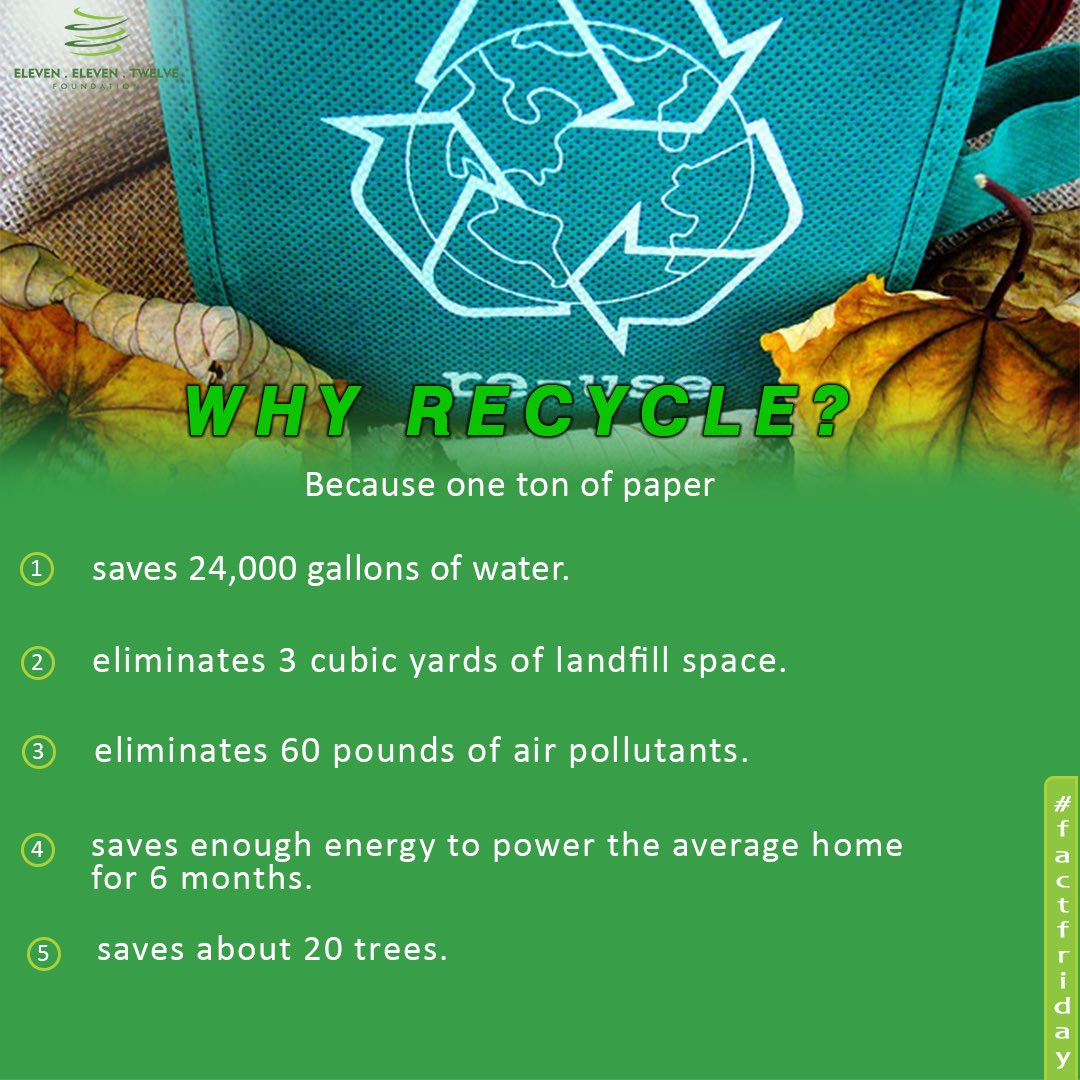 Some of the many benefits of recycling are the prevention of greenhouse gases, job creation & conservation of natural resources. Check this out;   Recycling one ton of Paper is; 👇🏾👇🏾👇🏾  #Fridayvibes  #fridaymorning