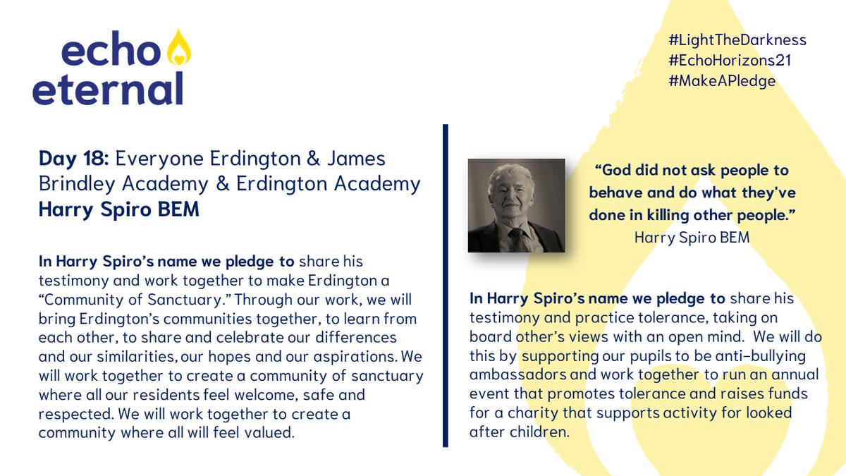 It's #Day18 of #EchoHorizons21 - Everyone Erdington, @ErdingtonArts & @JBA_Live have created a short film, featuring poetry, music & artwork inspired by the survivor testimony of Harry Spiro BEM.  Tune in at 5pm:   #LighttheDarkness #MakeAPledge