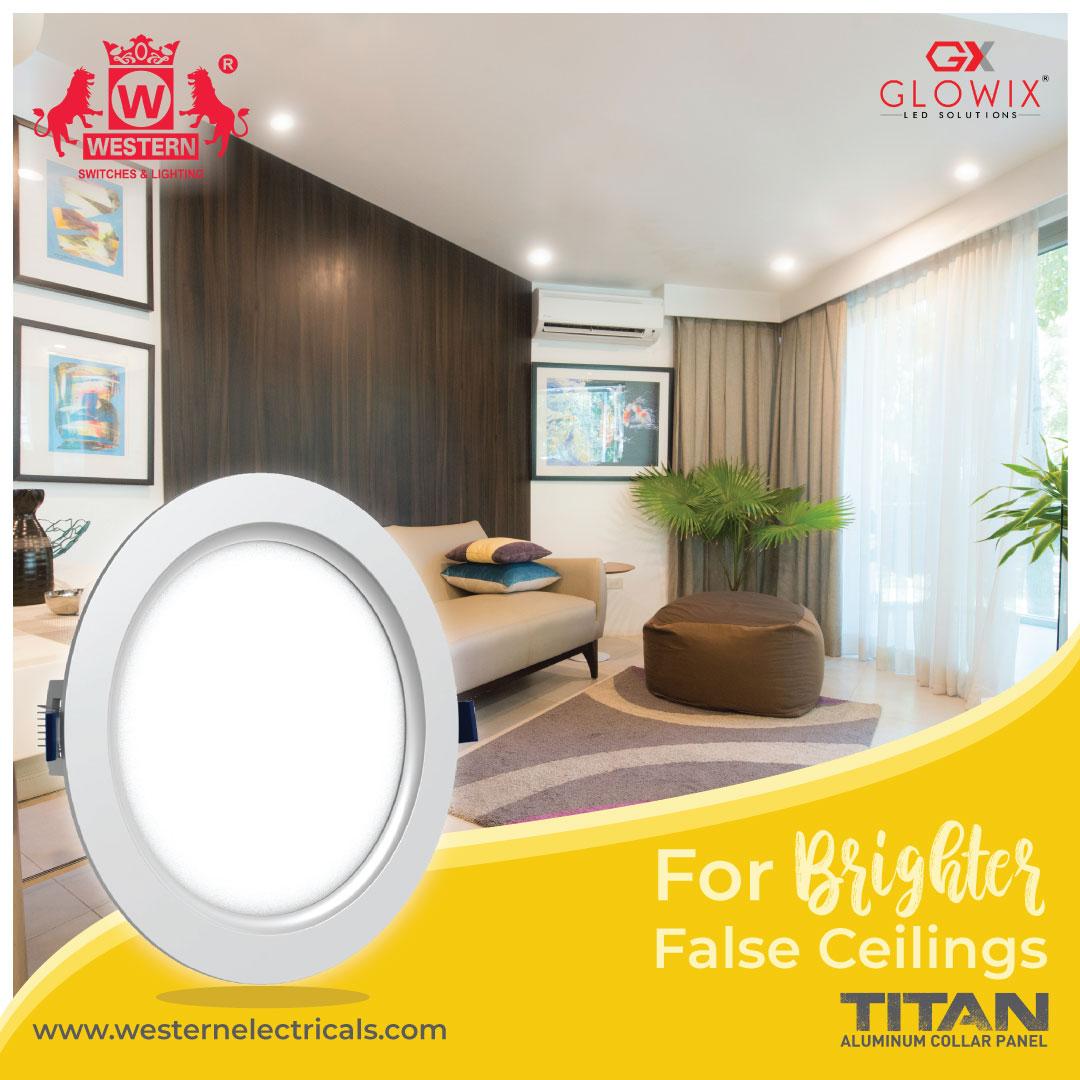 #Lightup the #house with the #newrange of #TitanSlim #LedAluminiumpanels with #Glowix #technology.  #WesternElectricals #TitanLights #LED #lights #falseceilinglights #TwoShapes #BrighterWorld