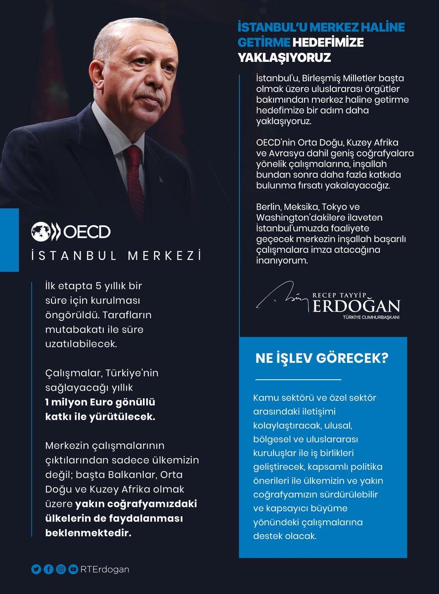 Bugün açılışı gerçekleştirilen OECD İstanbul Merkezi'nin ülkemize hayırlı ve uğurlu olmasını temenni ediyorum.   Berlin, Meksika, Tokyo ve Washington'dakilere ilaveten İstanbul'umuzda faaliyete geçecek merkezin inşallah başarılı çalışmalara imza atacağına inanıyorum.