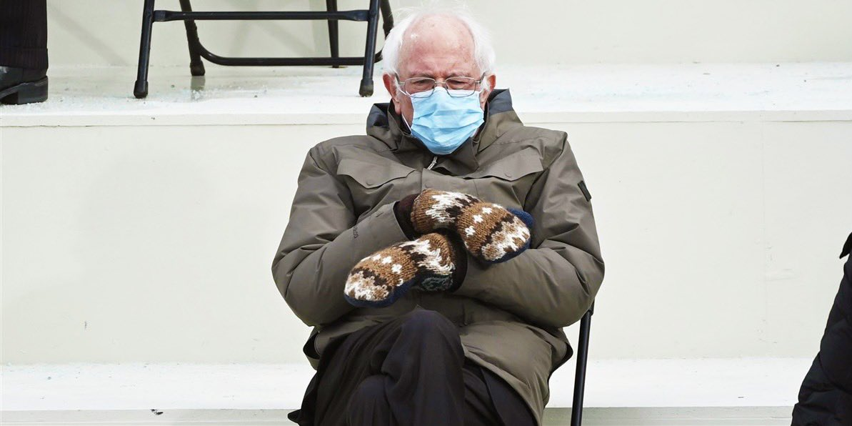 """My grandmomma bought me these mittens!"" #Berniememes #Friday @icecube"