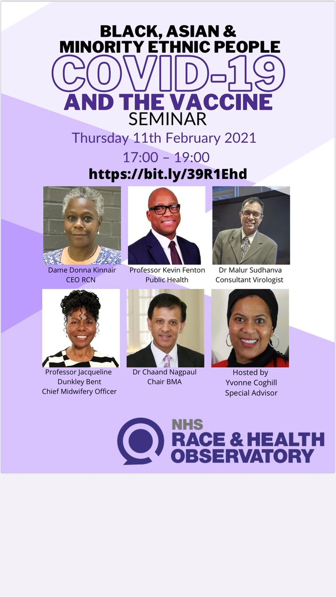 "NHS Race and Health Observatory on Twitter: ""The @NHS_RHO will be holding  its first webinar of Thursday 11 Feb 17:00-19:00 - all welcome! Here is the  live link to join the webinar"