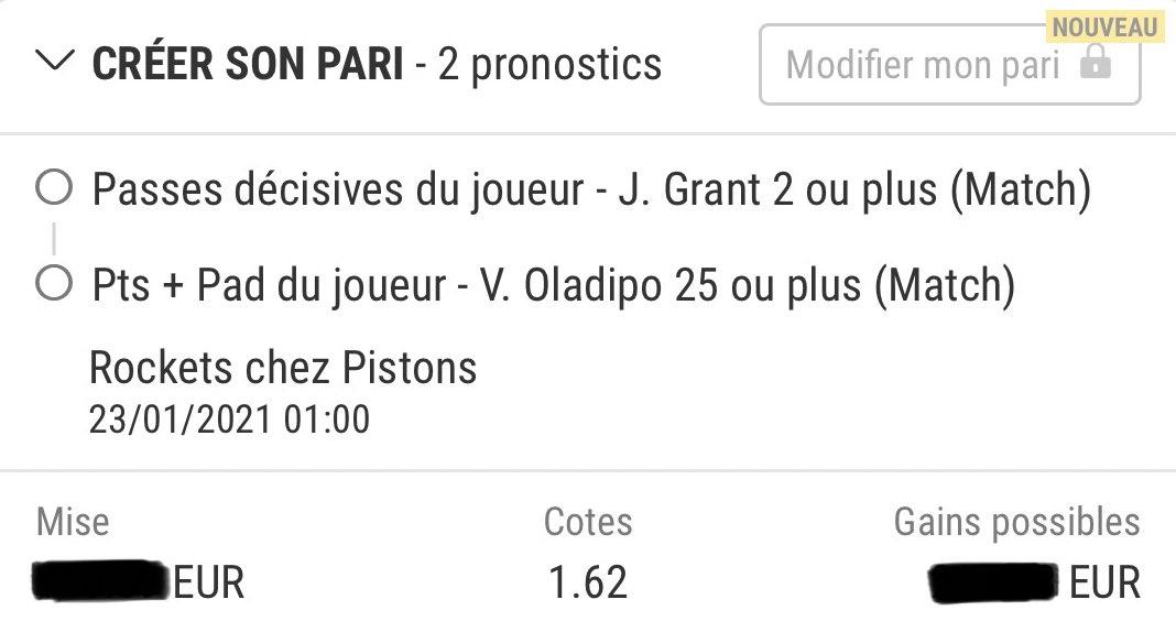 1st #bet du soir   #rockets #pistons    🕰1:00 🔸grant +1.5 a 🔸olapido +24.5 pa    @ 1.62  📊confiance 80% 💶bk ~2%  #nba #TeamParieur #bwin