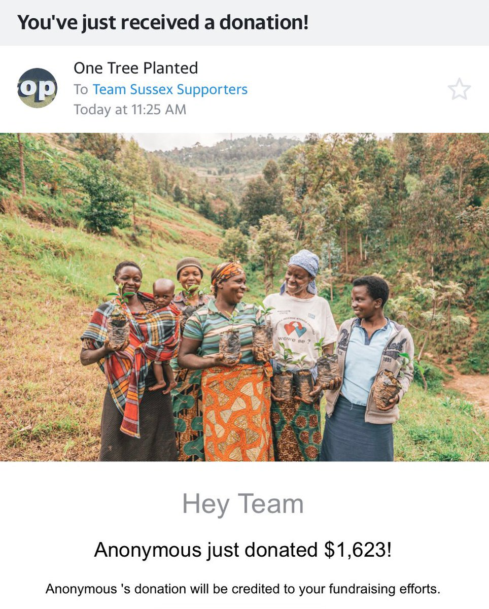 Well, #HappyNewYear! Someone just gave us a BIG nudge to get ourselves back to work for 2021! An anonymous donor gave $1,623 to @onetreeplanted — that's over 1,600 trees to #SussexGreatForest, & a big #ClimateAction boost! Thank you SOOO much!
