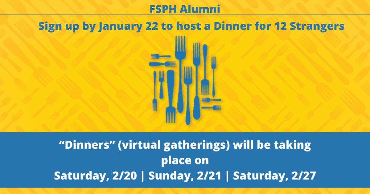 #UCLAFSPH Alumni | Host a Virtual Dinner for 12 Strangers! | Deadline Today   Sign-up to host students or alumni no matter where they are in the world ➨      Virtual dinners will take place 2/20-2/27. Deadline to sign-up is 1/22.   #UCLAFSPHAlumni