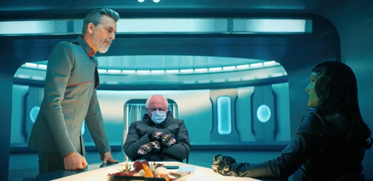 When you get pulled into a meeting you didn't need to be part of. #Berniememes #startrek #StarTrekDiscovery