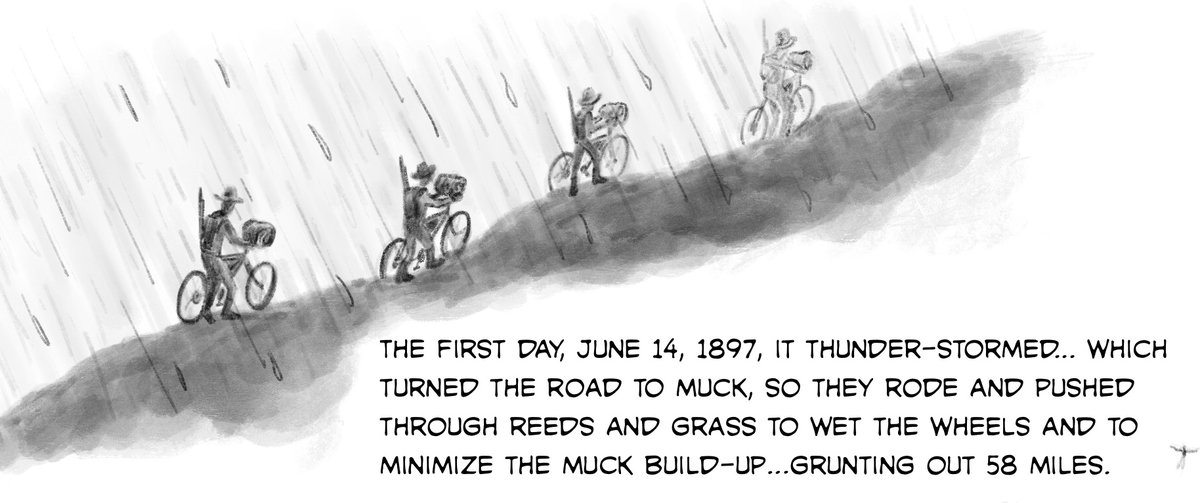 Today involves drawing Buffalo Soldiers on their experimental bike ride across a huge swath of the US amongst mud and mosquitoes, fun trip I'm sure   #illustration #drawing #bicycle #history