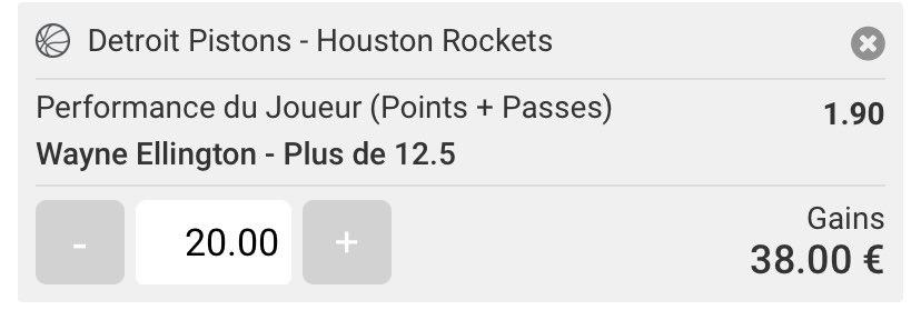 🇺🇸 #NBA  Bk NBA : Pick 4    🏀 Detroit - Houston   📺 01:00  💥 W.Ellington +12,5 PP           💶 20€  📊 1.80  📗 @UnibetFrance   #TeamParieur #NBATwitter #bet #pick  #tips #DetroitUp #Rockets      __