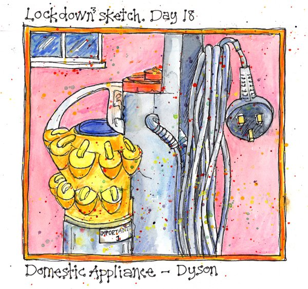 Lockdown3. Day 18. Domestic Appliance - Dyson. Drawing with my Friday art group, theme was 'Domestic appliances' so out came the Dyson with it's lovely shapes and colours. A bit dusty! #Lockdown3 #Day18 #sketch #DomesticAppliance #Dyson