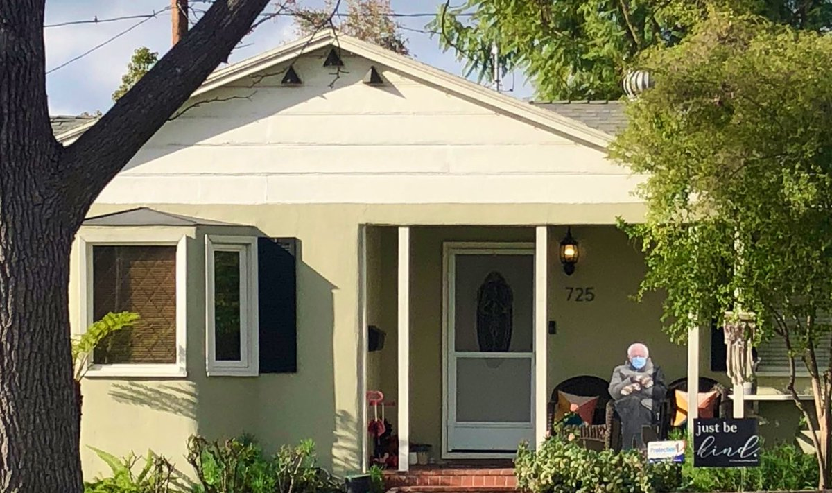 Bernie Mittens has made it to a porch in Burbank. When you don't have to worry about a lunatic running the country 24/7, you have time to turn a meme into a cardboard cutout.
