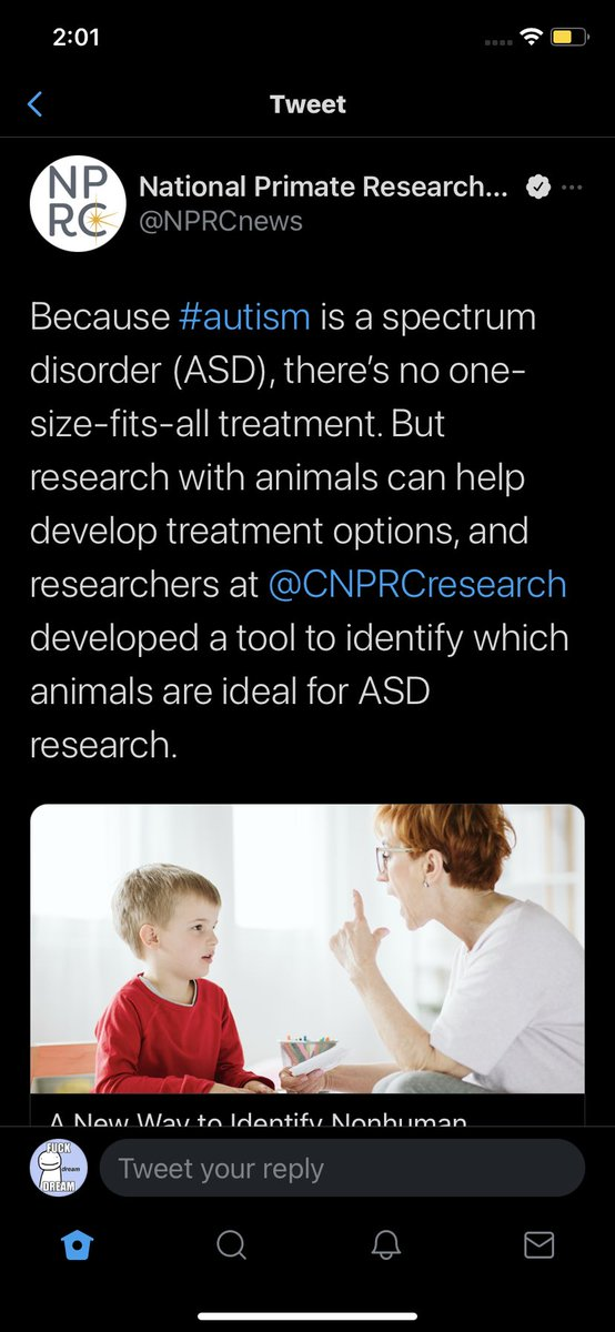 tw // possible ableism , animal cruelty   uhhhhhh ... wtf is this?  1. wtf is an autism treatment  2. why would you test on animals when it's likely avoidable  3. how are animals a substitution for autistic people