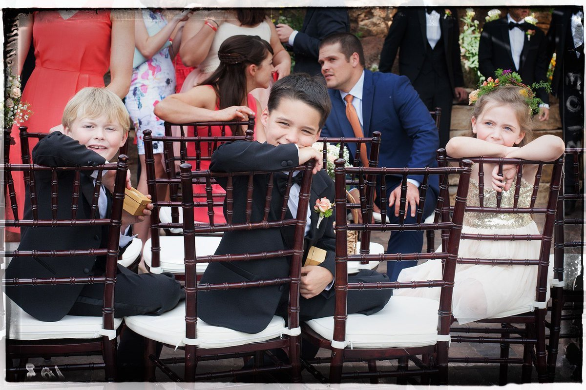 Flower girl and ring bearers on Madelaine and David's #wedding day @NewCraftwoodInn. #colorado #candid