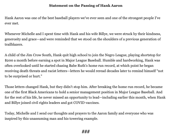 """Former President Obama statement on death of Hank Aaron:  """"Hank Aaron was one of the best baseball players we've ever seen and one of the strongest people I've ever met."""""""