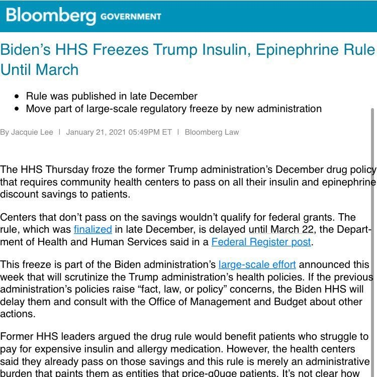 Biden reversed Trump's Executive Order to reduce pricing for insulin and epinephrine.   Democrats want higher insulin prices?