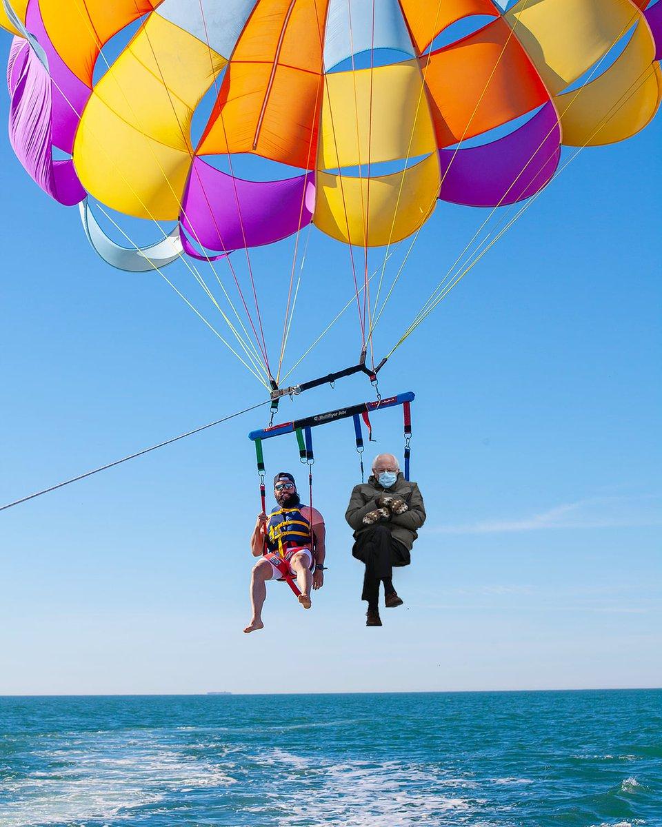 Bernie flying high in Oxnard 🪂#berniememes 📍: Channel Islands Parasail . . . #VisitOxnard #Oxnard #OxnardCA #VCCVibes #VisitCA