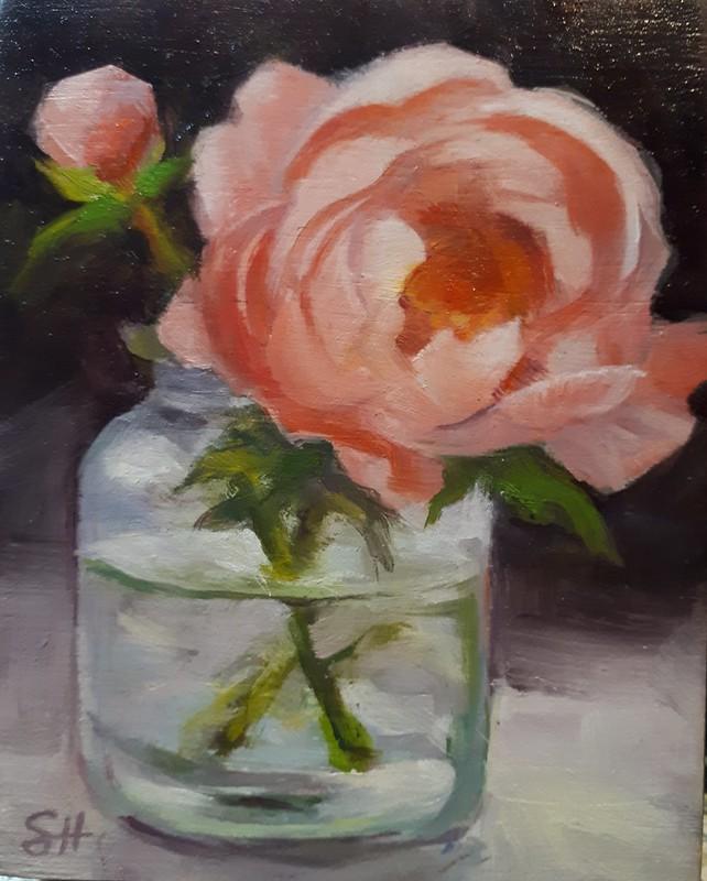 Another beautiful  sneak.peek at a #preshrunk2021 that will be here starting next Friday onwards by Shelia Harnish. Everyone loves #peonies #halifaxns #buyoriginalart #smallart #FridayFeeling #snowdaydontcare #flowers #painting
