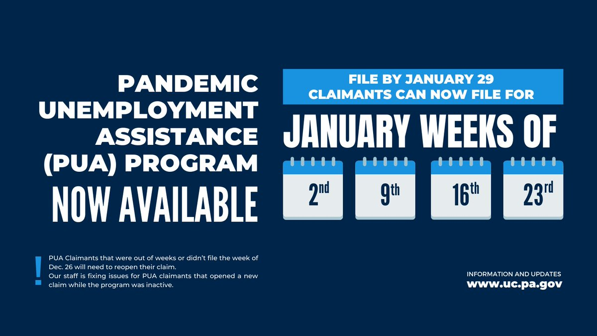 Pa Department Of Labor Industry On Twitter Pua Program Extension Now Available Existing Pua Claimants Can Begin Filing For The 11 Week Benefit Extension Pua Claimants Must File By January