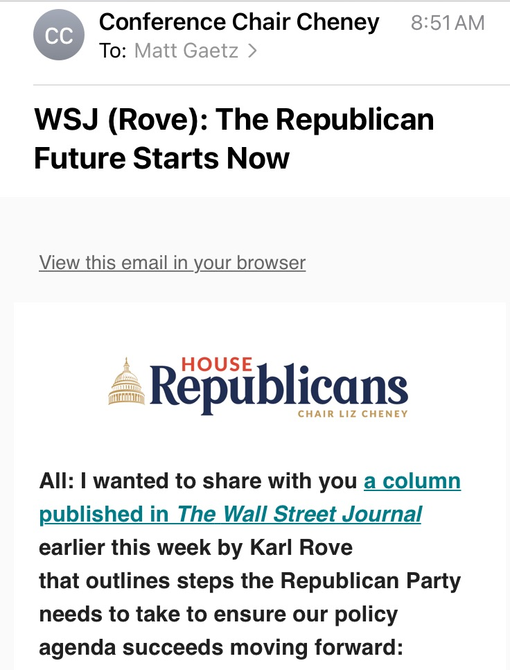 Liz Cheney emailing me a Karl Rove essay attacking Trump.  This is the current state of Republican House Leadership.  Pathetic & Unworthy of the great people in the America First movement. https://t.co/0Q1BG7IDbd