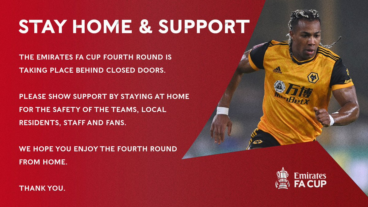Across the #EmiratesFACup fourth round weekend, stay home, stay safe and continue supporting! 🙌