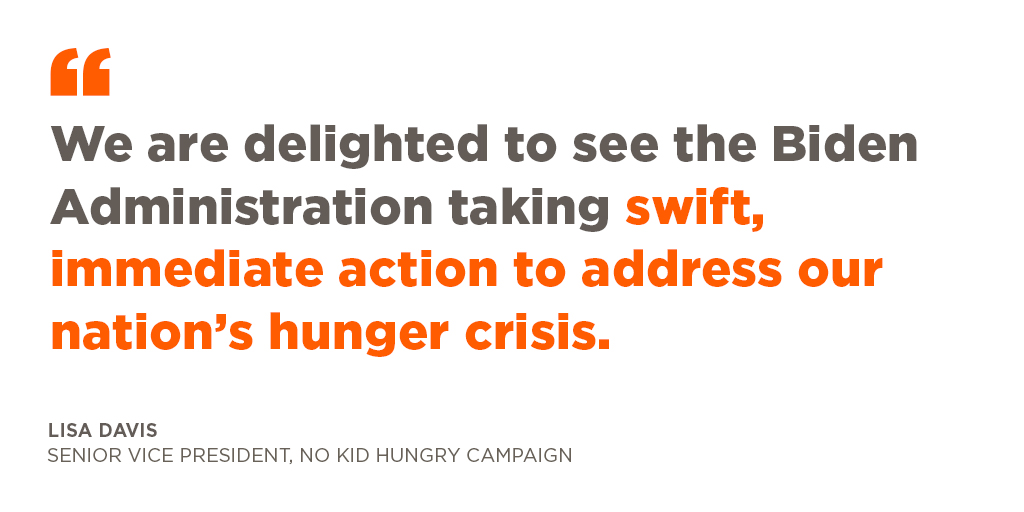 🔔 WHITE HOUSE TO HUNGRY KIDS: HELP IS ON THE WAY 🔔 The Biden Administration is set to sign two executive orders this morning aimed at helping the millions of kids and families hit hard by the pandemic. 👉