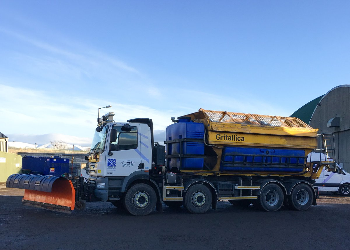 36 gritters will be out across trunk roads in the NW of Scotland - including #Gritallica who will be out working hard on the #A9! A yellow weather warning for #snow and #ice will be in place overnight - please #DriveSafe and #TakeCare if out! ❄️