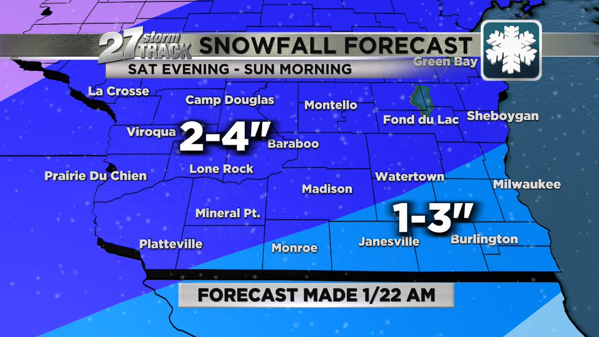 First look at #snow forecast for the weekend. Not the most significant, but most of us can plan on shoveling by Sunday morning #wiwx