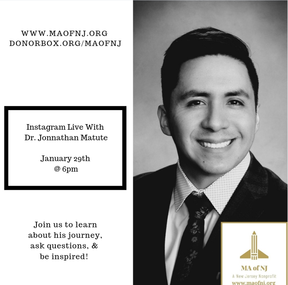 📢 Join us next Friday, January 29th for our #instagramlive chat with Johnathan Matute a Dentist‼️ Hear his exciting and empowering story of #breakthestigma ‼️  #maofnj501c3org #newjersey #education #empowering #ourstudents #ourcommunities #maofnj #fridaymorning