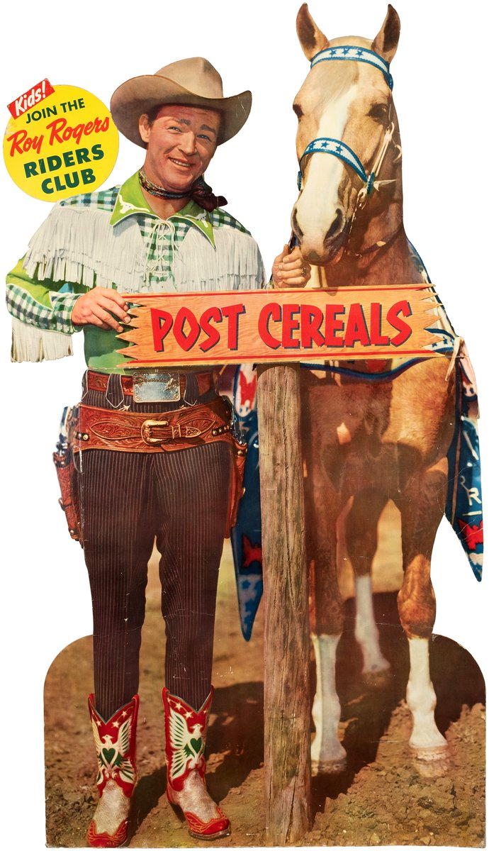 #Hakes231 Sneak Peek! #YippeeKiYay! If you ❤ #Westerns (& #cereal), you'll definitely want to ✅ out this #rare @postcereals #advertising standee featuring #RoyRogers & #Trigger being sold in @HakesAuctions' new sale! Bidding opens Feb. 2! #PostCereals #cowboys #horses #auction