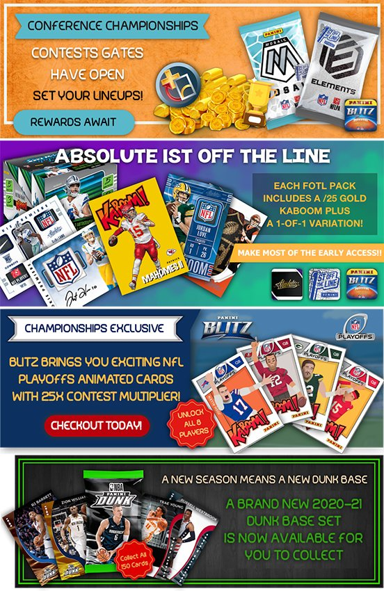 The @PaniniDigital Weekly Roundup: @NFL Playoff contests, new animated cards, new @NBA set, FOTL drops and more.  #WhoDoYouCollect     Download #NFL Blitz for free👇👇👇   Download #NBA Dunk for free👇👇👇