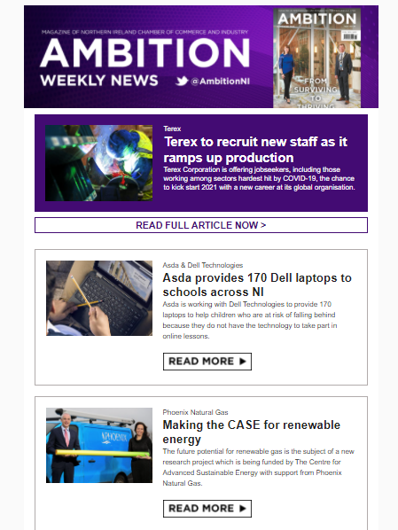 Ambition Weekly - The latest news from NI Chamber members is out now. Read: tinyurl.com/y3bx7jws