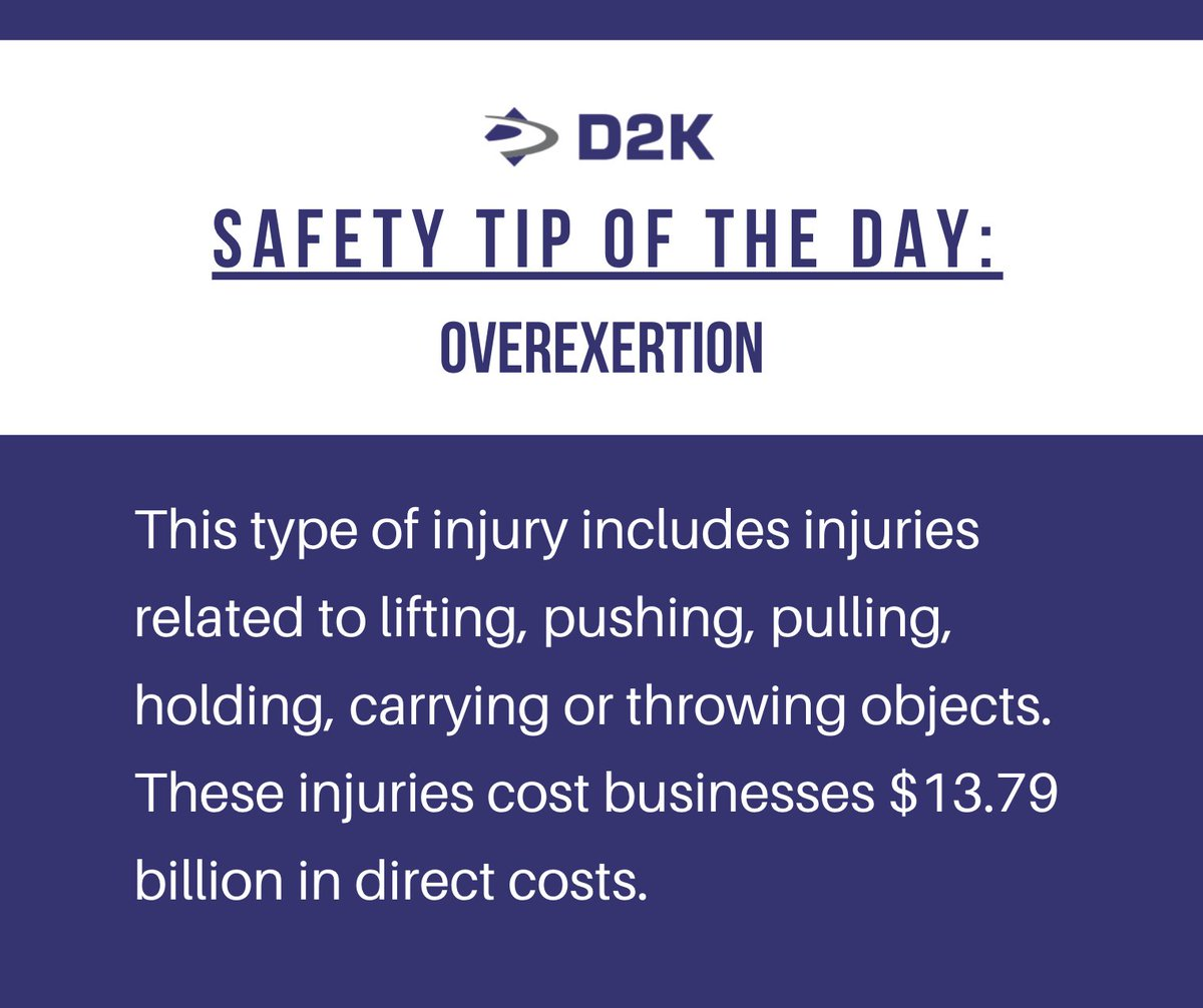 Overexertion ranked first among the leading causes of disabling injury.   #SafetyTip #Awareness #TakeYourTime #Overexertion #Prepared #Mindful #InjuryPrevention #WorkplaceSafety #TrafficControl #Hazards #Careful