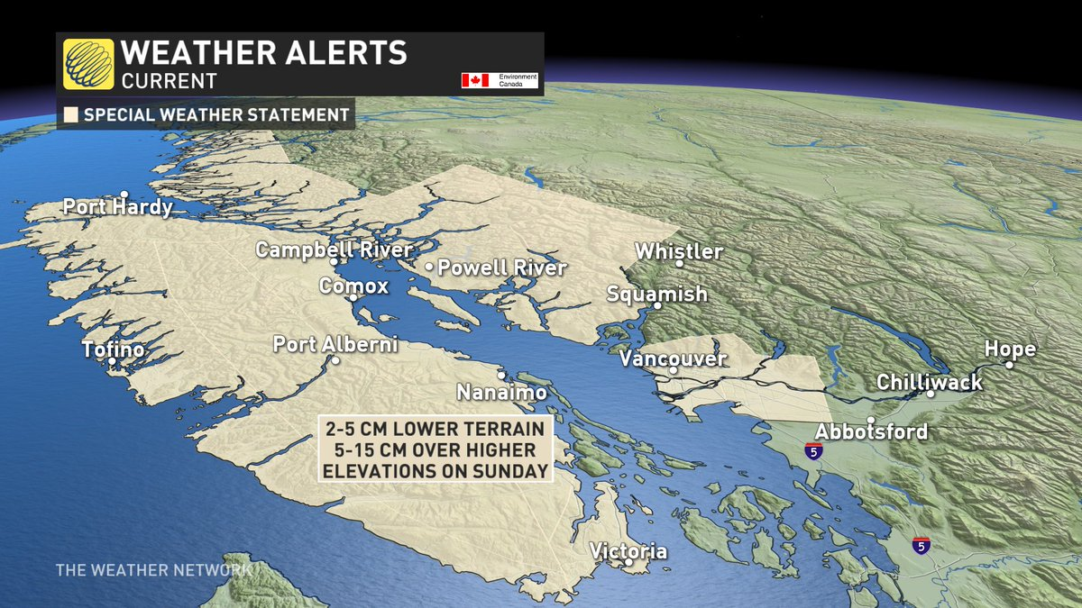 #Snow is coming to the West Coast this weekend! Looks to begin Saturday night with #temperatures hovering right around 0°C and should continue into Sunday. Higher elevations & areas inland to get more accumulation. #BCstorm updates @weathernetwork