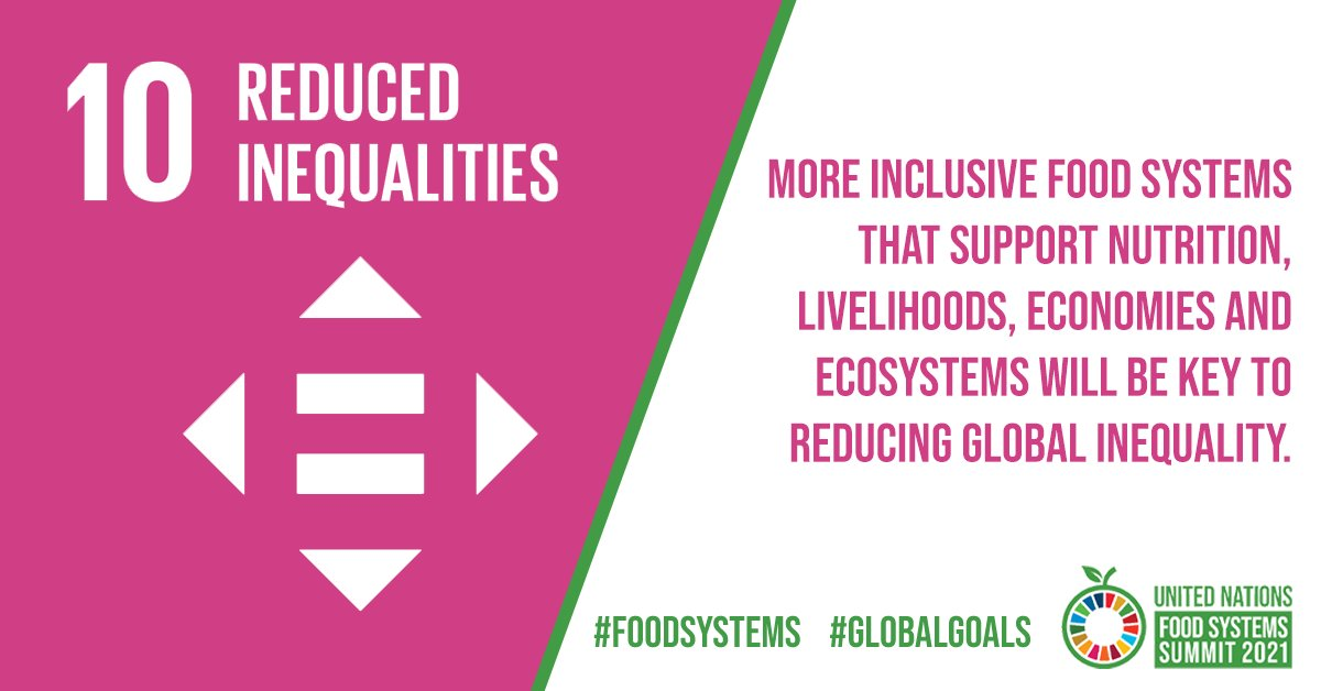 Smallholder farmers produce up to 80% of the world's food, yet they often go hungry.  More equitable #FoodSystems can generate livelihoods that lift people out of poverty and deliver healthy diets, ultimately reducing inequalities to achieve the #GlobalGoals!  #SDG10