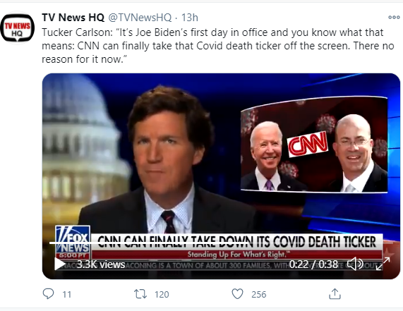 Carlson's claim that CNN got rid of the Covid tracker because Biden is now in charge is -- like previous versions of the claim -- entirely false.   CNN is still running the tracker, especially during Covid segments. It ran the tracker alongside Biden's own speech yesterday.