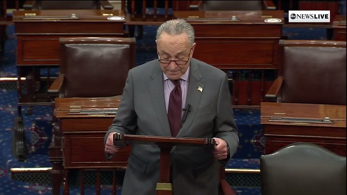 """JUST IN: Majority Leader Schumer says Speaker Pelosi will deliver article of impeachment against former Pres. Trump to Senate on Monday.  """"Make no mistake: a trial will be held in the United States Senate, and there will be a vote on whether to convict."""""""