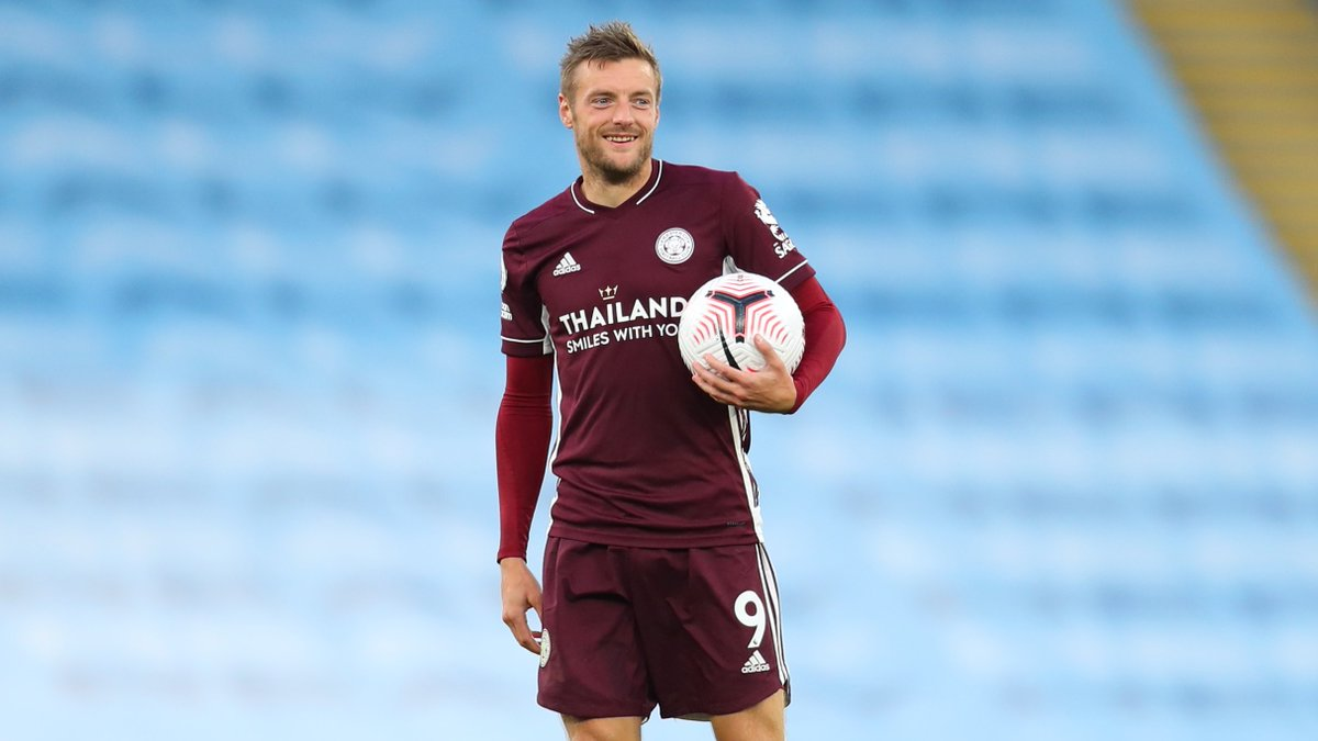 👤 Jamie Vardy 👕 Leicester 📅 27 September 2020 🆚 Man City ⚽️ 37'  ⚽️ 53' ⚽️ 58'