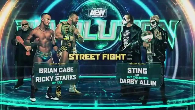 Here we go! It's 'The Machine' Brian Cage (@MrGMSI_BCage) & Ricky Starks (@starkmanjones) of #TeamTaz vs. @Sting & the TNT Champion @DarbyAllin in a STREET FIGHT!