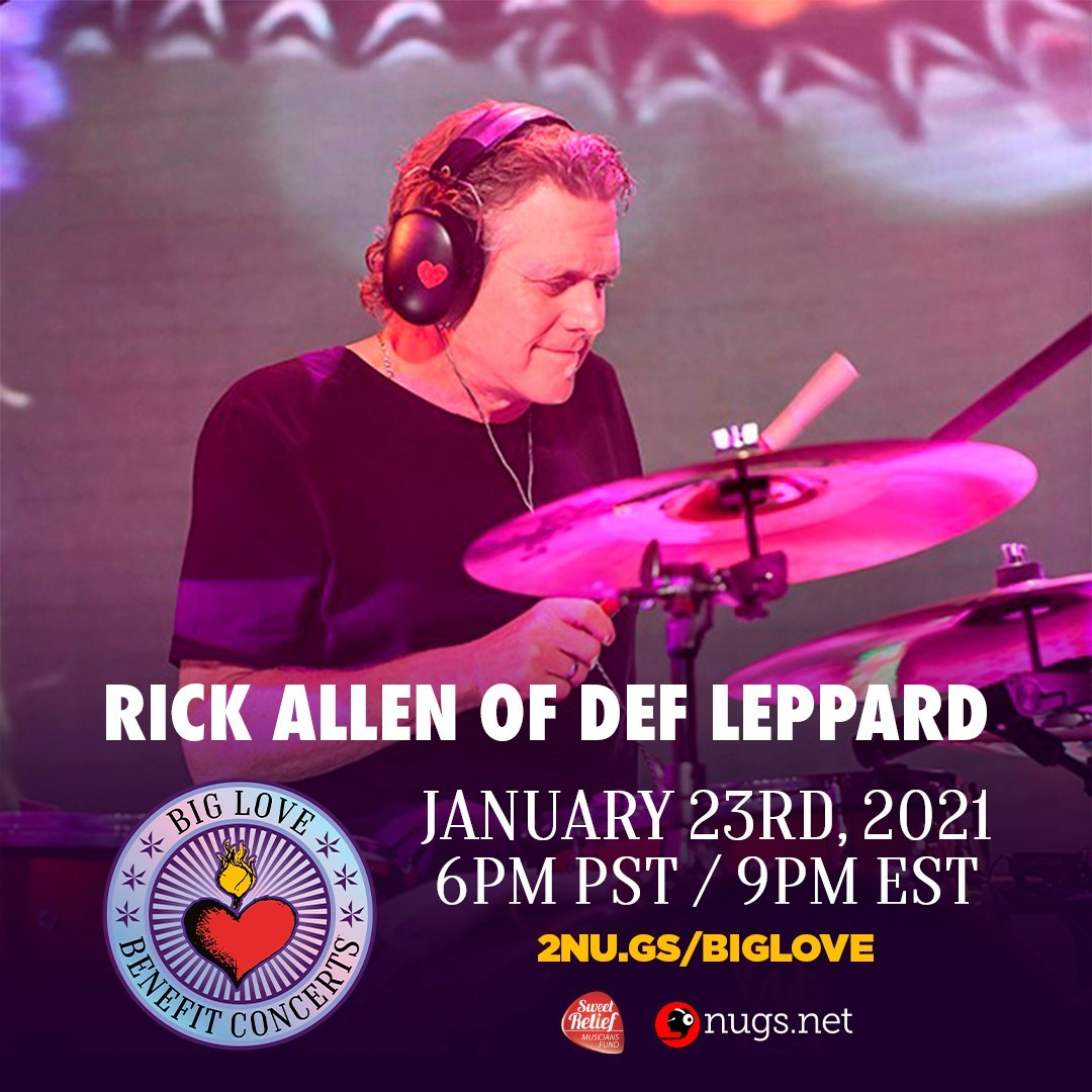 TOMORROW NIGHT -Join @rickallenlive in the Big Love Benefit Concert!✌️ 🙏   The webcast is this Saturday at 9pm ET and all proceeds go to support the @SweetRelief  which supports Music Entertainment Professionals in need.   Get your tickets here: https://t.co/Rzy7uQvihU https://t.co/It20fS2nMH